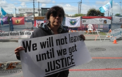 Ongoing Musqueam protest to protect ancient village and burial site, Vancouver, June 2012.