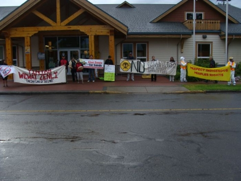 Protest outside of Smithers Town Council