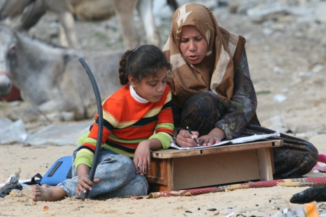 Mother Tutoring Daughter, Beit Hanun