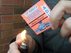 Burning transit ticket