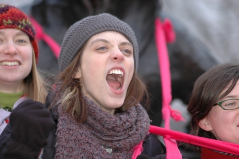 Protesting Cuts to Status of Women Canada